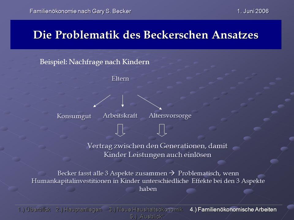 Familienökonomie nach Gary S. Becker 1. Juni 2006 Die Problematik des Beckerschen Ansatzes 1.) Überblick 2.) Hauptanliegen 3.) Neue Haushaltsökonomik