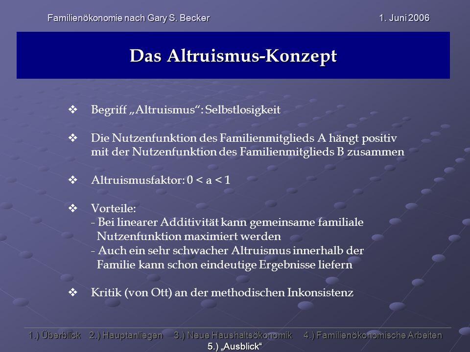 Familienökonomie nach Gary S. Becker 1. Juni 2006 Das Altruismus-Konzept Begriff Altruismus: Selbstlosigkeit Die Nutzenfunktion des Familienmitglieds