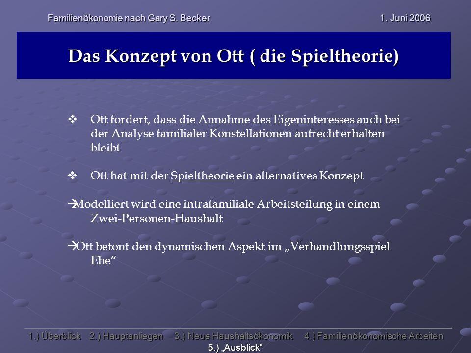 Familienökonomie nach Gary S. Becker 1. Juni 2006 Das Konzept von Ott ( die Spieltheorie) Ott fordert, dass die Annahme des Eigeninteresses auch bei d