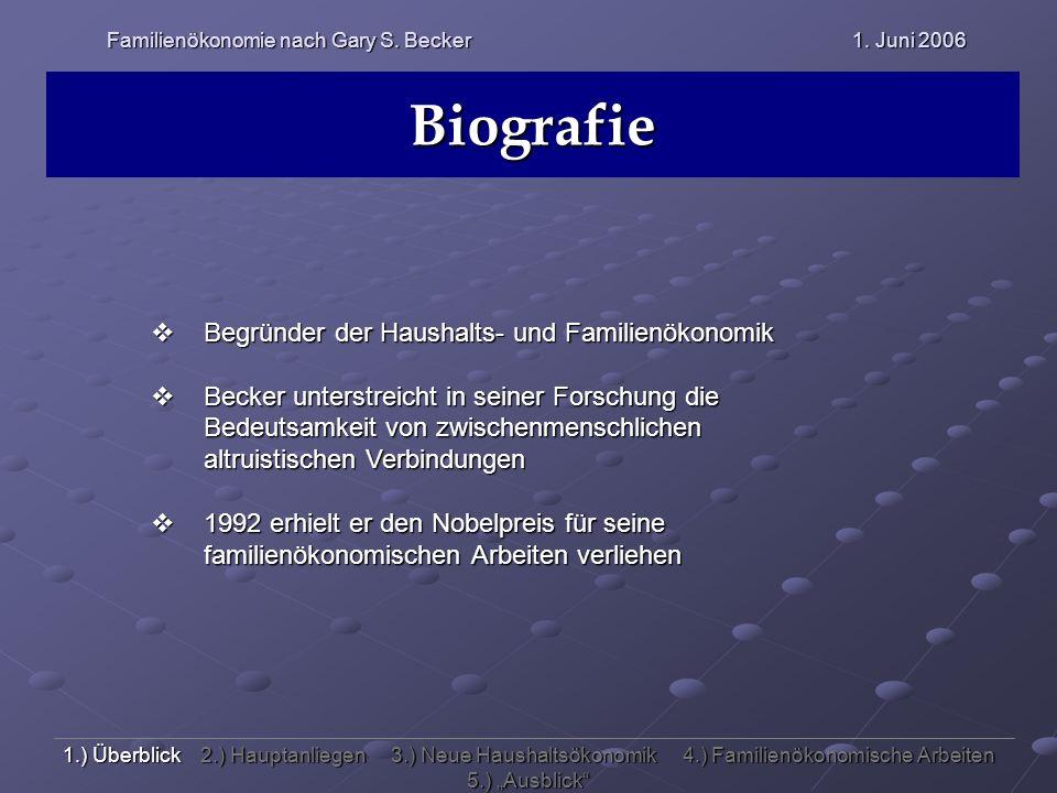 Familienökonomie nach Gary S. Becker 1. Juni 2006 Biografie Begründer der Haushalts- und Familienökonomik Begründer der Haushalts- und Familienökonomi