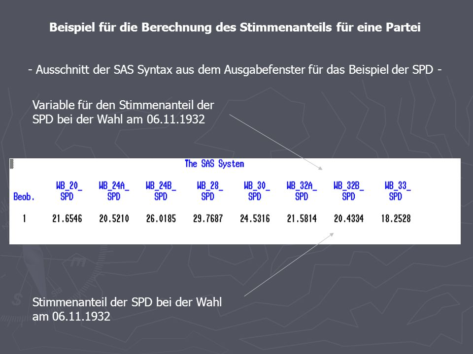 Beispiel für die Berechnung des des Stimmenanteils für eine Partei - Ausschnitt der SAS Syntax aus dem Editor für das Beispiel der SPD - Es werden nur