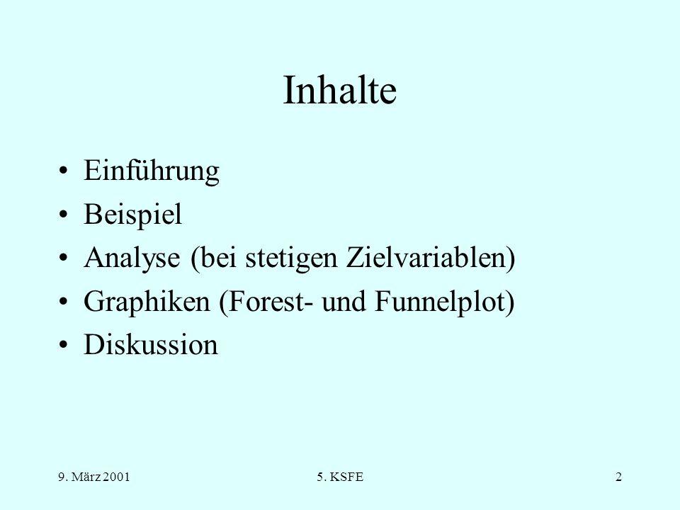 9. März 20015. KSFE1 Meta-Analysen mit SAS ® Analysen und Graphiken KSFE 2001 Steffen Witte / Oliver Kuß