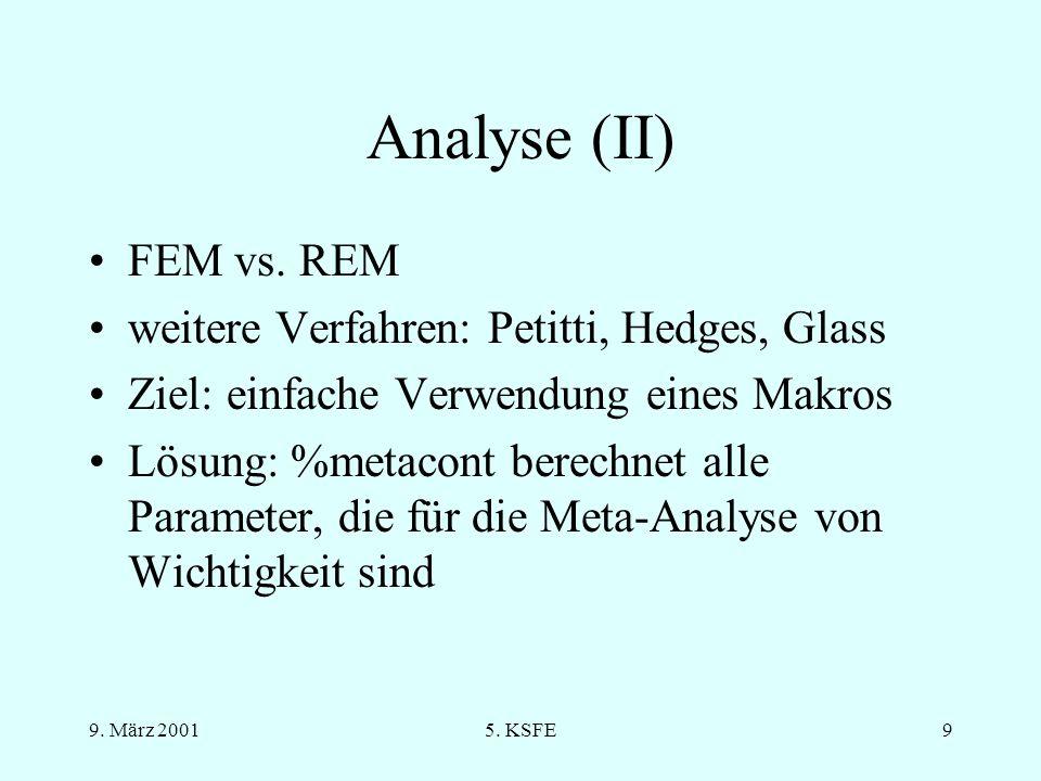 9.März 20015. KSFE9 Analyse (II) FEM vs.