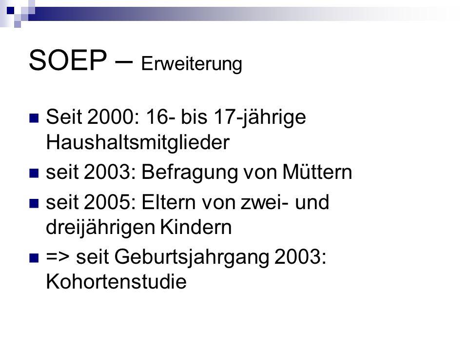 SOEP – Erweiterung Seit 2000: 16- bis 17-jährige Haushaltsmitglieder seit 2003: Befragung von Müttern seit 2005: Eltern von zwei- und dreijährigen Kin
