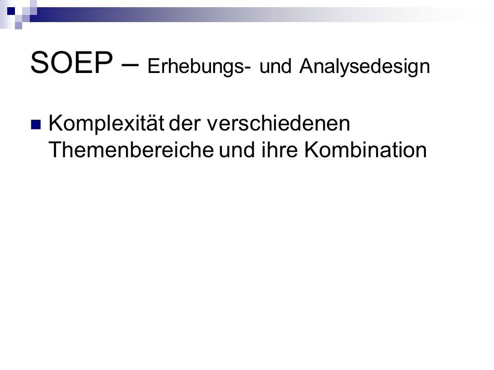 SOEP – Erhebungs- und Analysedesign Komplexität der verschiedenen Themenbereiche und ihre Kombination