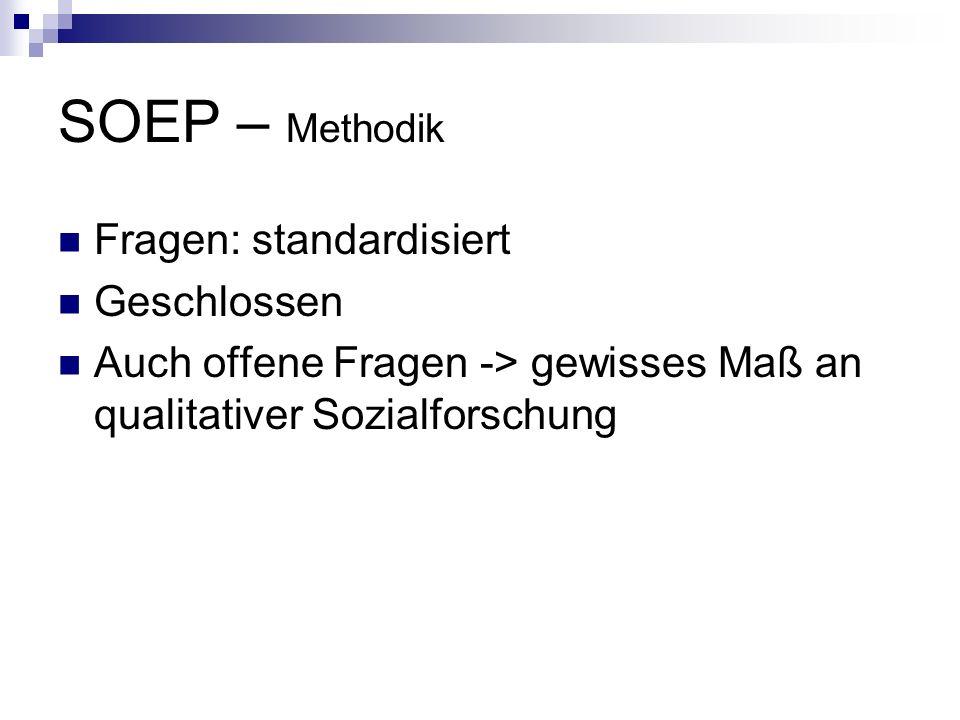 SOEP – Methodik Fragen: standardisiert Geschlossen Auch offene Fragen -> gewisses Maß an qualitativer Sozialforschung