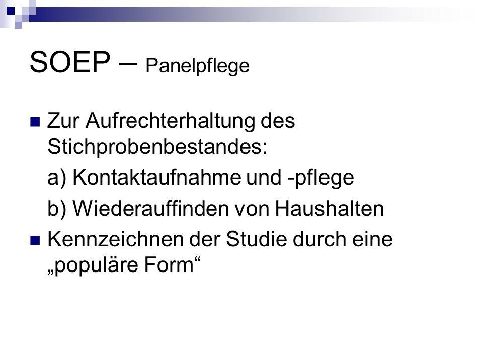 SOEP – Panelpflege Zur Aufrechterhaltung des Stichprobenbestandes: a) Kontaktaufnahme und -pflege b) Wiederauffinden von Haushalten Kennzeichnen der S