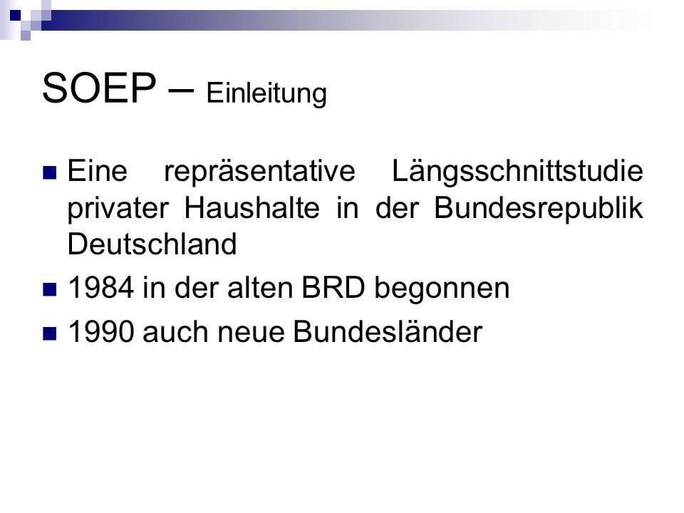 SOEP – Einleitung Eine repräsentative Längsschnittstudie privater Haushalte in der Bundesrepublik Deutschland 1984 in der alten BRD begonnen 1990 auch