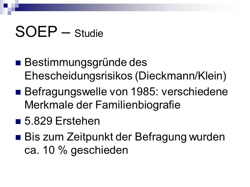 SOEP – Studie Bestimmungsgründe des Ehescheidungsrisikos (Dieckmann/Klein) Befragungswelle von 1985: verschiedene Merkmale der Familienbiografie 5.829