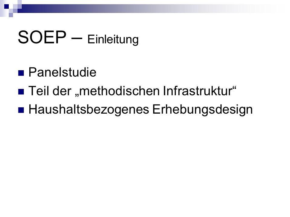 SOEP – Einleitung Panelstudie Teil der methodischen Infrastruktur Haushaltsbezogenes Erhebungsdesign