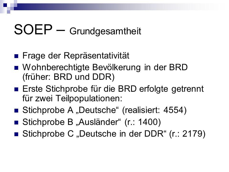 SOEP – Grundgesamtheit Frage der Repräsentativität Wohnberechtigte Bevölkerung in der BRD (früher: BRD und DDR) Erste Stichprobe für die BRD erfolgte