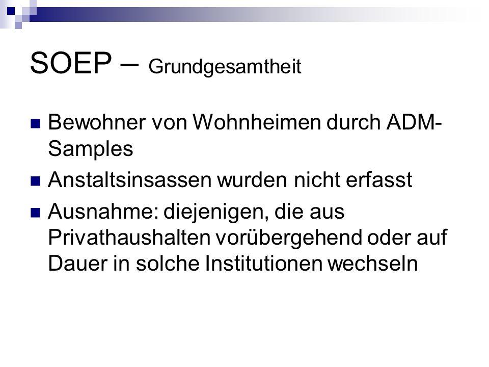 SOEP – Grundgesamtheit Bewohner von Wohnheimen durch ADM- Samples Anstaltsinsassen wurden nicht erfasst Ausnahme: diejenigen, die aus Privathaushalten