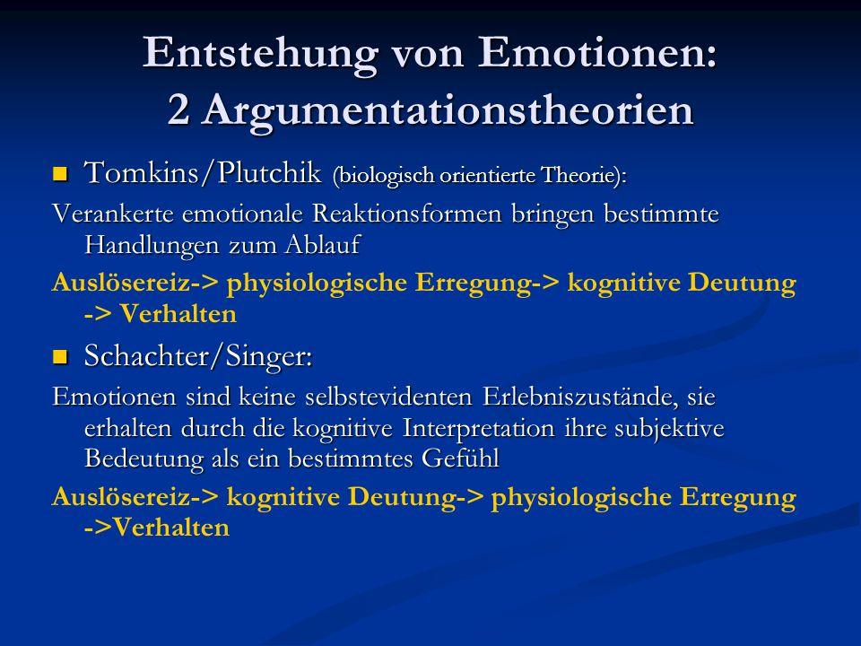 Entstehung von Emotionen: 2 Argumentationstheorien Tomkins/Plutchik (biologisch orientierte Theorie): Tomkins/Plutchik (biologisch orientierte Theorie