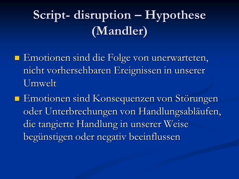 Script- disruption – Hypothese (Mandler) Emotionen sind die Folge von unerwarteten, nicht vorhersehbaren Ereignissen in unserer Umwelt Emotionen sind