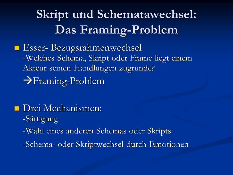 Skript und Schematawechsel: Das Framing-Problem Esser- Bezugsrahmenwechsel -Welches Schema, Skript oder Frame liegt einem Akteur seinen Handlungen zug