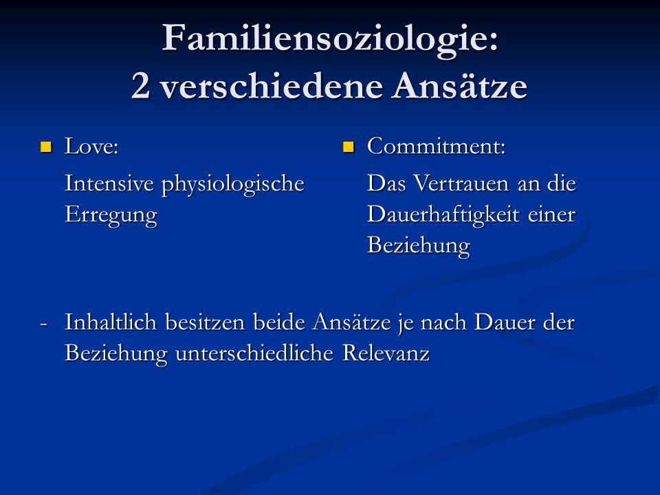 Familiensoziologie: 2 verschiedene Ansätze Love: Love: Intensive physiologische Erregung Commitment: Commitment: Das Vertrauen an die Dauerhaftigkeit