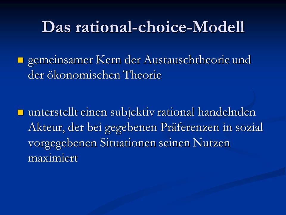 Das rational-choice-Modell gemeinsamer Kern der Austauschtheorie und der ökonomischen Theorie gemeinsamer Kern der Austauschtheorie und der ökonomisch