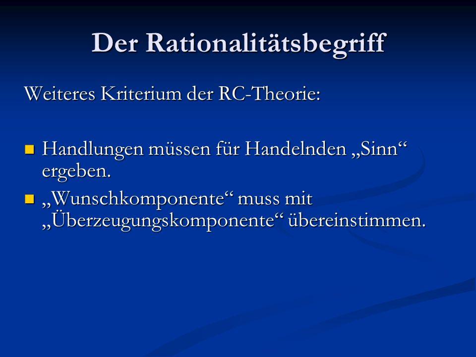 Der Rationalitätsbegriff Weiteres Kriterium der RC-Theorie: Handlungen müssen für Handelnden Sinn ergeben. Handlungen müssen für Handelnden Sinn ergeb