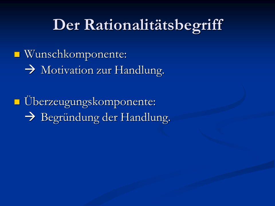 Der Rationalitätsbegriff Wunschkomponente: Wunschkomponente: Motivation zur Handlung. Motivation zur Handlung. Überzeugungskomponente: Überzeugungskom