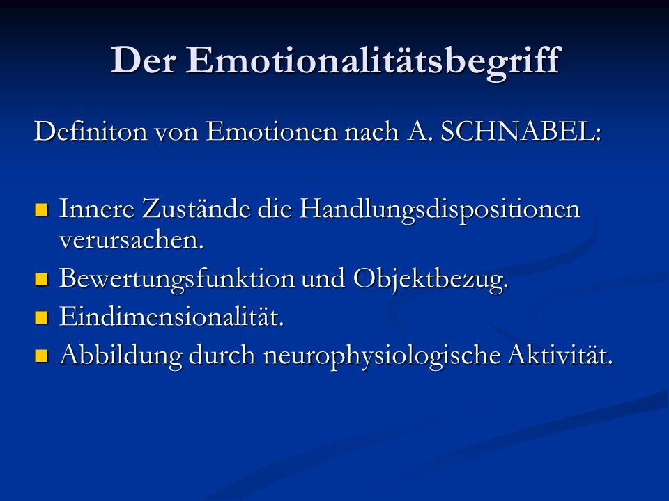 Der Emotionalitätsbegriff Definiton von Emotionen nach A. SCHNABEL: Innere Zustände die Handlungsdispositionen verursachen. Innere Zustände die Handlu