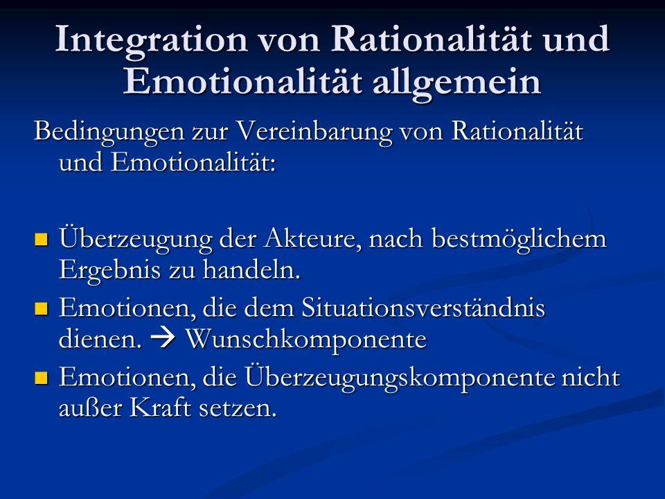 Integration von Rationalität und Emotionalität allgemein Bedingungen zur Vereinbarung von Rationalität und Emotionalität: Überzeugung der Akteure, nac