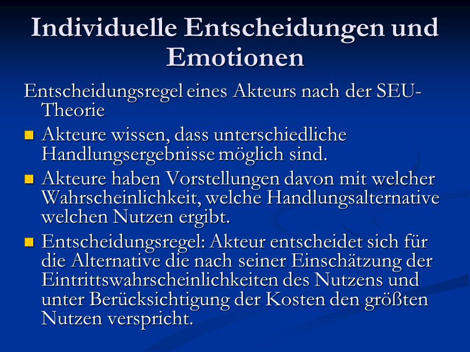 Individuelle Entscheidungen und Emotionen Entscheidungsregel eines Akteurs nach der SEU- Theorie Akteure wissen, dass unterschiedliche Handlungsergebn