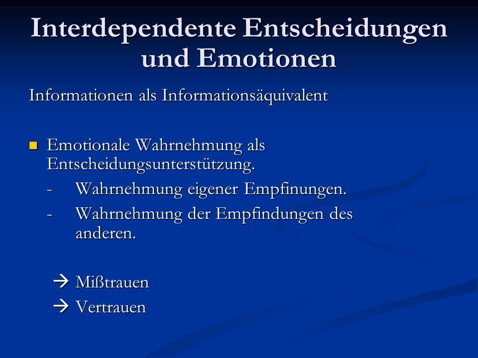 Interdependente Entscheidungen und Emotionen Informationen als Informationsäquivalent Emotionale Wahrnehmung als Entscheidungsunterstützung. Emotional
