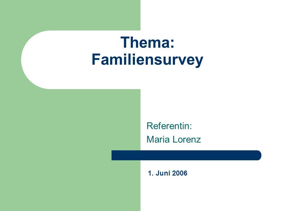 Thema: Familiensurvey Referentin: Maria Lorenz 1. Juni 2006