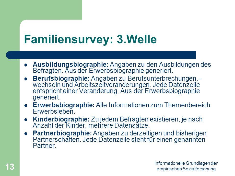 Informationelle Grundlagen der empirischen Sozialforschung 13 Familiensurvey: 3.Welle Ausbildungsbiographie: Angaben zu den Ausbildungen des Befragten