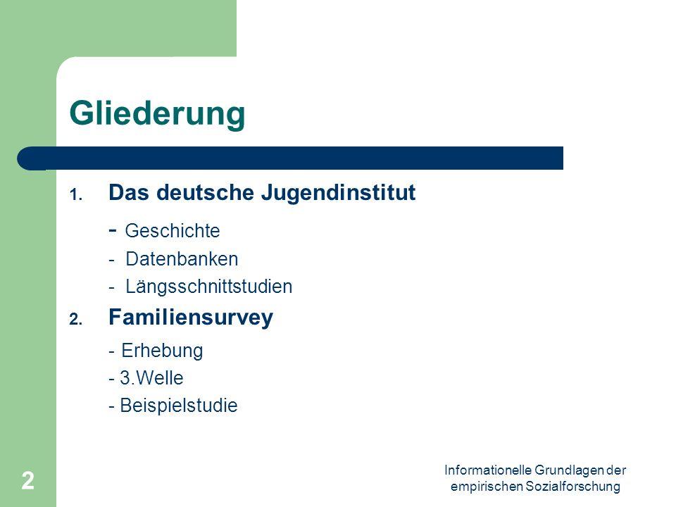 Informationelle Grundlagen der empirischen Sozialforschung 2 Gliederung 1. Das deutsche Jugendinstitut - Geschichte - Datenbanken - Längsschnittstudie