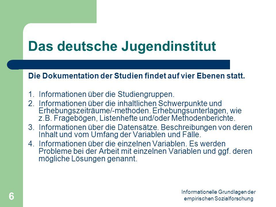Informationelle Grundlagen der empirischen Sozialforschung 6 Das deutsche Jugendinstitut Die Dokumentation der Studien findet auf vier Ebenen statt. 1