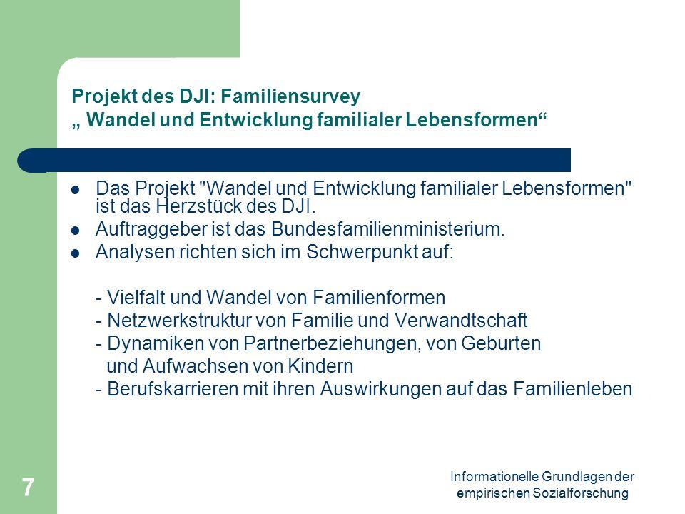 Informationelle Grundlagen der empirischen Sozialforschung 8 Familiensurvey Die Besonderheit des DJI-FS besteht im Netzwerk-Konzept von Familie: Familien werden nicht allein als Haushaltsform definiert, sondern als gelebte Beziehungen in den Mittelpunkt der Analyse gestellt.