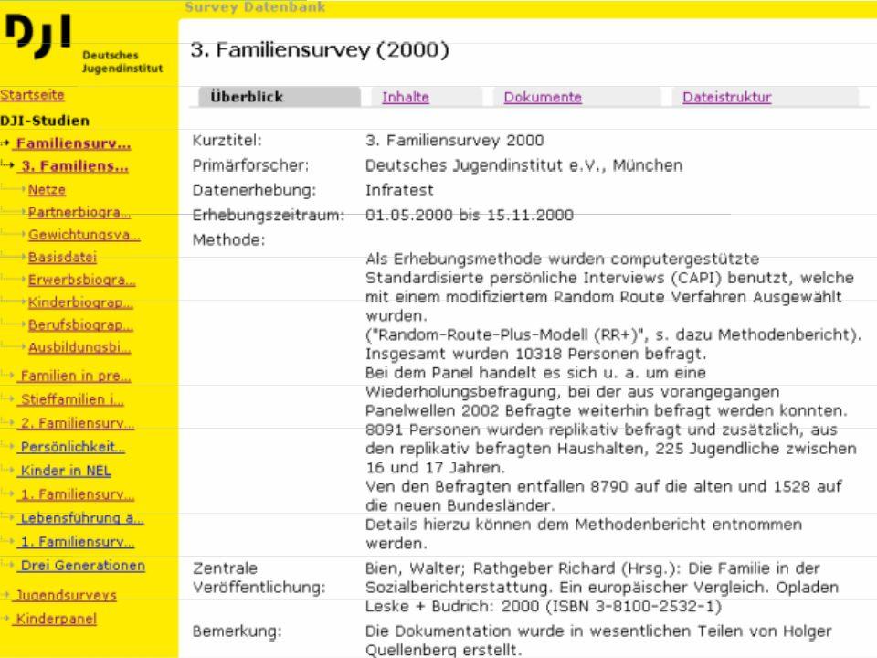 10 Familiensurvey: 3.Welle Erhebung Die im Jahr 2000 erhobene dritte Welle des Familiensurveys setzt inhaltlich auf die beiden vorangegangenen Wellen (1988/1990 und 1994) auf.