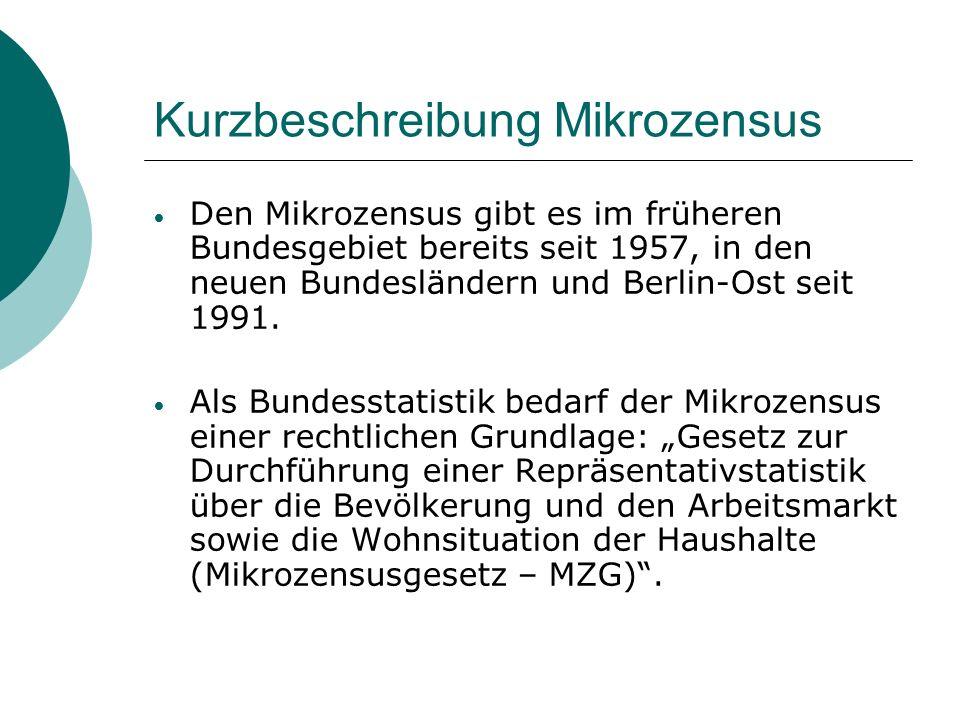 Kurzbeschreibung Mikrozensus Den Mikrozensus gibt es im früheren Bundesgebiet bereits seit 1957, in den neuen Bundesländern und Berlin-Ost seit 1991.
