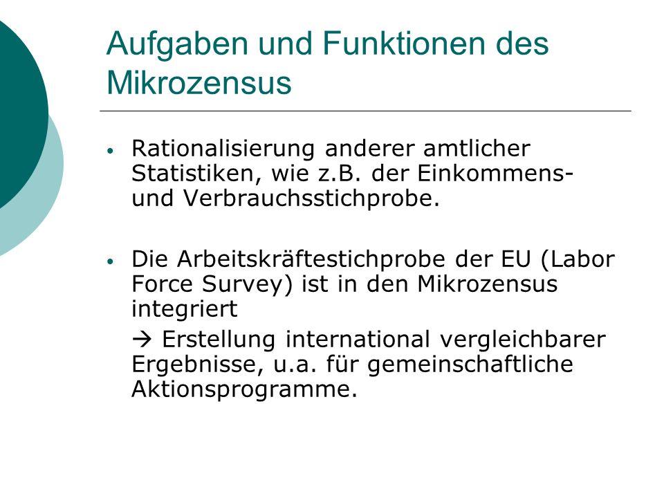 Aufgaben und Funktionen des Mikrozensus Rationalisierung anderer amtlicher Statistiken, wie z.B. der Einkommens- und Verbrauchsstichprobe. Die Arbeits