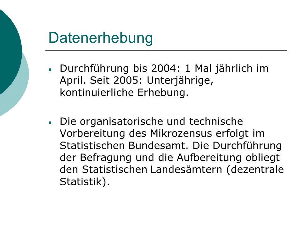 Datenerhebung Durchführung bis 2004: 1 Mal jährlich im April. Seit 2005: Unterjährige, kontinuierliche Erhebung. Die organisatorische und technische V