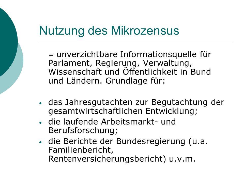 Nutzung des Mikrozensus = unverzichtbare Informationsquelle für Parlament, Regierung, Verwaltung, Wissenschaft und Öffentlichkeit in Bund und Ländern.