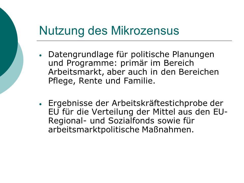 Nutzung des Mikrozensus Datengrundlage für politische Planungen und Programme: primär im Bereich Arbeitsmarkt, aber auch in den Bereichen Pflege, Rent