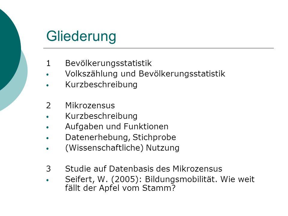 Gliederung 1Bevölkerungsstatistik Volkszählung und Bevölkerungsstatistik Kurzbeschreibung 2Mikrozensus Kurzbeschreibung Aufgaben und Funktionen Datene