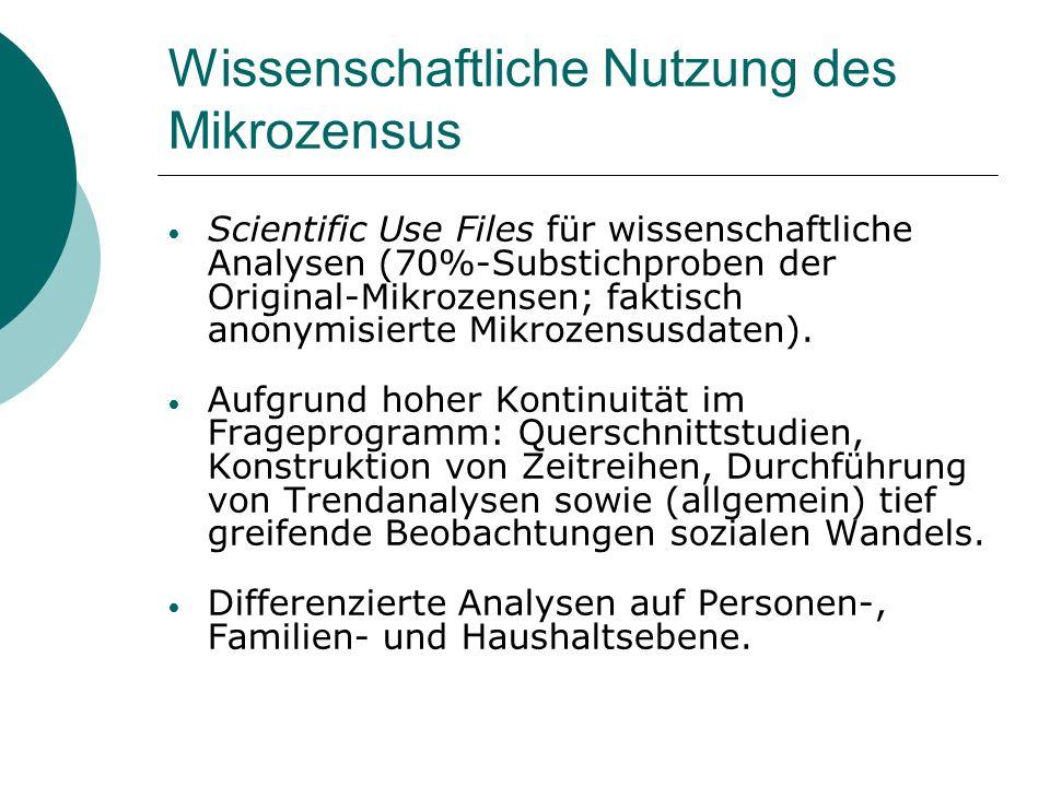 Wissenschaftliche Nutzung des Mikrozensus Scientific Use Files für wissenschaftliche Analysen (70%-Substichproben der Original-Mikrozensen; faktisch a