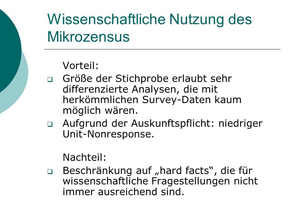 Wissenschaftliche Nutzung des Mikrozensus Vorteil: Größe der Stichprobe erlaubt sehr differenzierte Analysen, die mit herkömmlichen Survey-Daten kaum