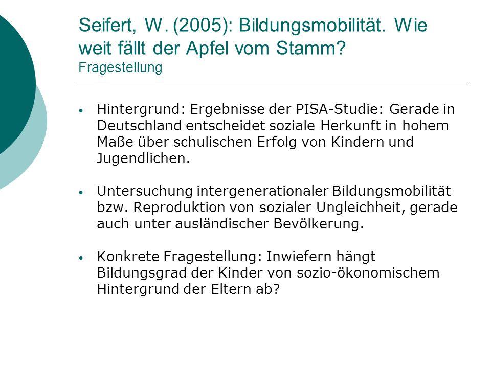 Seifert, W. (2005): Bildungsmobilität. Wie weit fällt der Apfel vom Stamm? Fragestellung Hintergrund: Ergebnisse der PISA-Studie: Gerade in Deutschlan