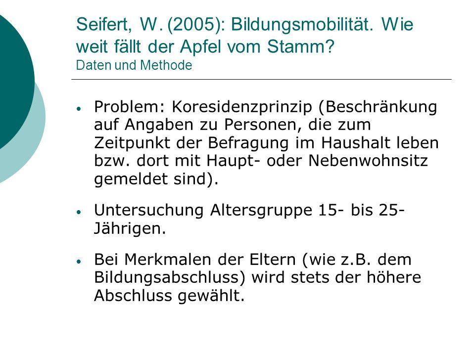 Seifert, W. (2005): Bildungsmobilität. Wie weit fällt der Apfel vom Stamm? Daten und Methode Problem: Koresidenzprinzip (Beschränkung auf Angaben zu P
