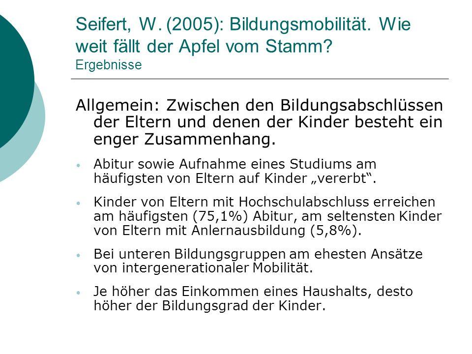 Seifert, W. (2005): Bildungsmobilität. Wie weit fällt der Apfel vom Stamm? Ergebnisse Allgemein: Zwischen den Bildungsabschlüssen der Eltern und denen