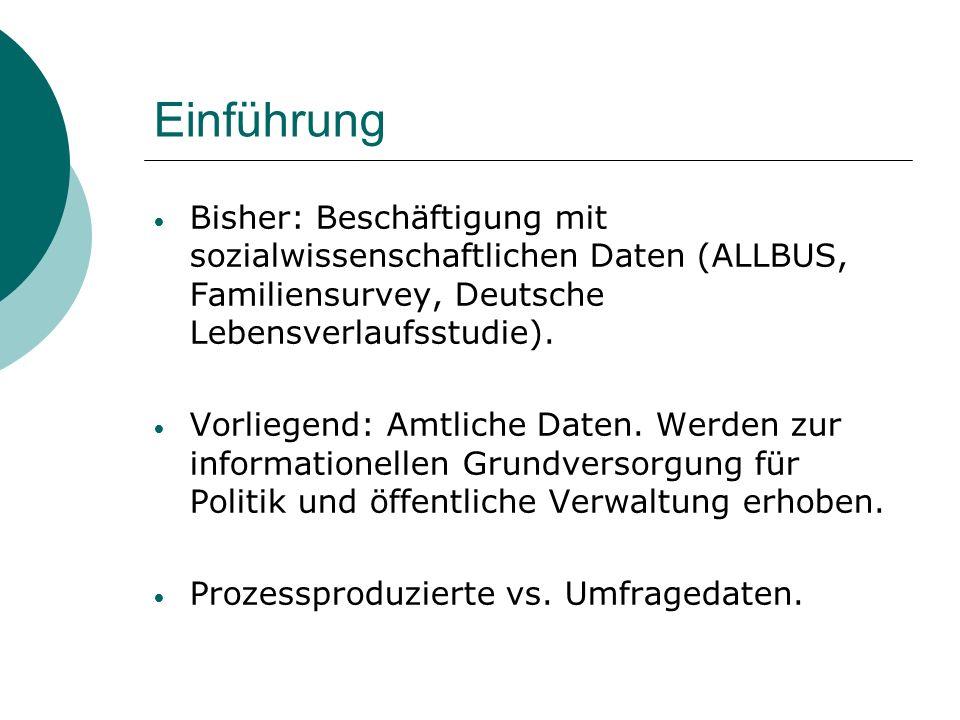 Einführung Bisher: Beschäftigung mit sozialwissenschaftlichen Daten (ALLBUS, Familiensurvey, Deutsche Lebensverlaufsstudie). Vorliegend: Amtliche Date