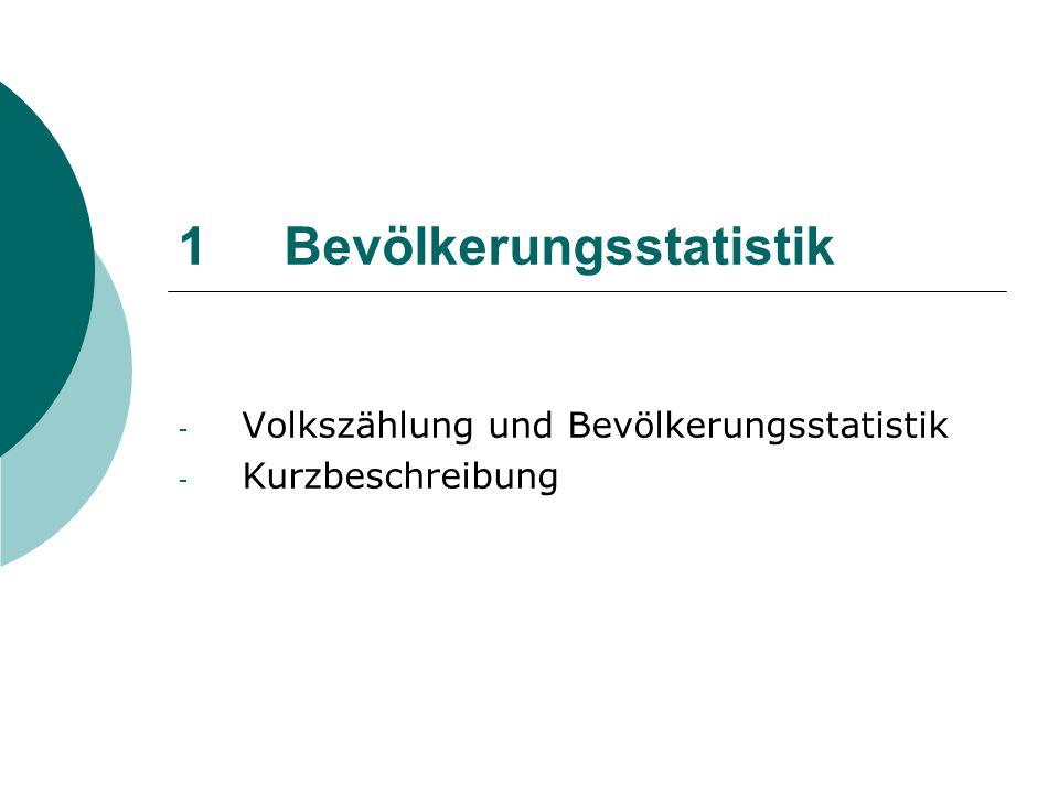 Volkszählung und Bevölkerungsstatistik Bevölkerungsstatistik in der BRD basiert auf Volkszählung bzw.