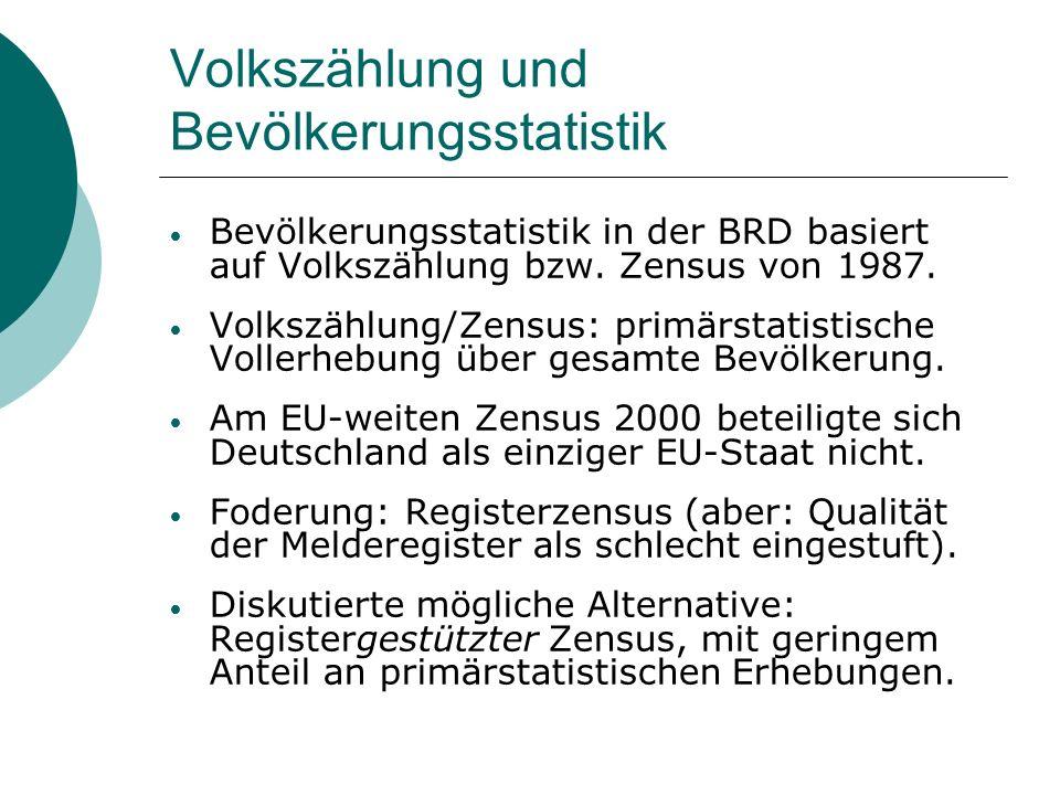 Volkszählung und Bevölkerungsstatistik Bevölkerungsstatistik in der BRD basiert auf Volkszählung bzw. Zensus von 1987. Volkszählung/Zensus: primärstat
