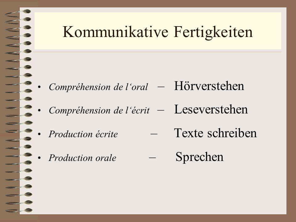 Kommunikative Fertigkeiten Compréhension de loral – Hörverstehen Compréhension de lécrit – Leseverstehen Production écrite – Texte schreiben Productio