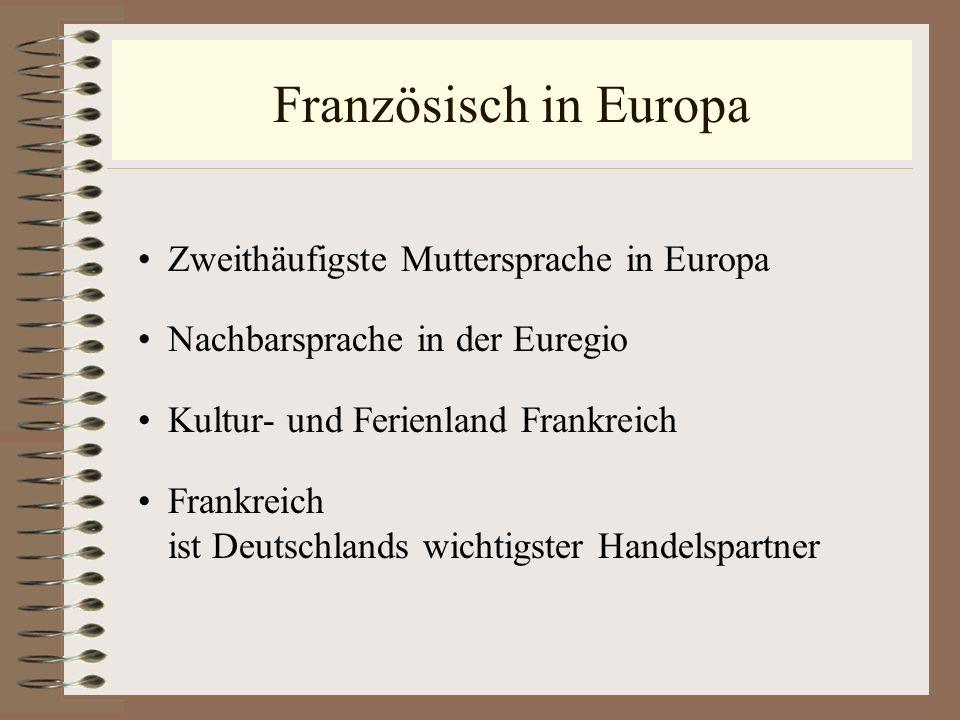 Französisch in Europa Zweithäufigste Muttersprache in Europa Nachbarsprache in der Euregio Kultur- und Ferienland Frankreich Frankreich ist Deutschlan