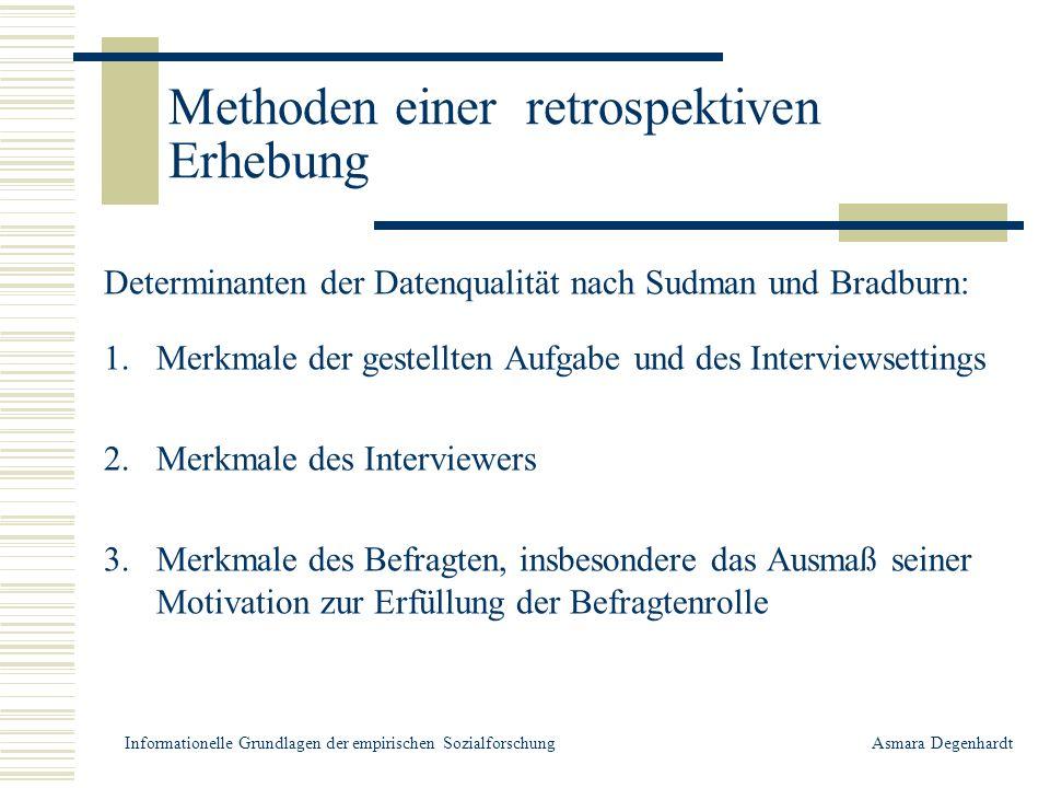 Methoden einer retrospektiven Erhebung Retrospektivfragen u.a.